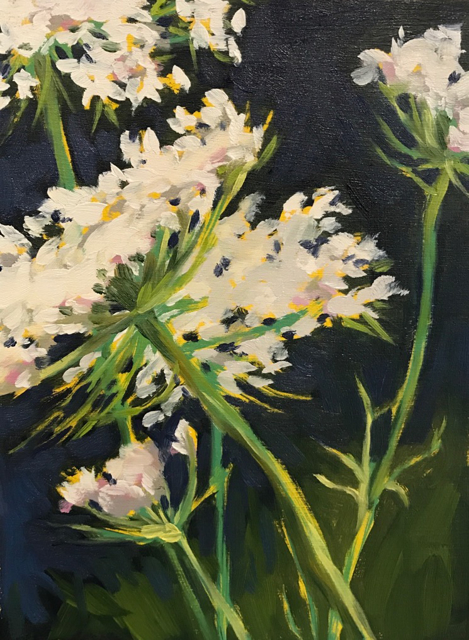 "Margaret Gerding | Day 9 (Queen Anne's Lace) | Oil on Panel | 8"" X 6"" 