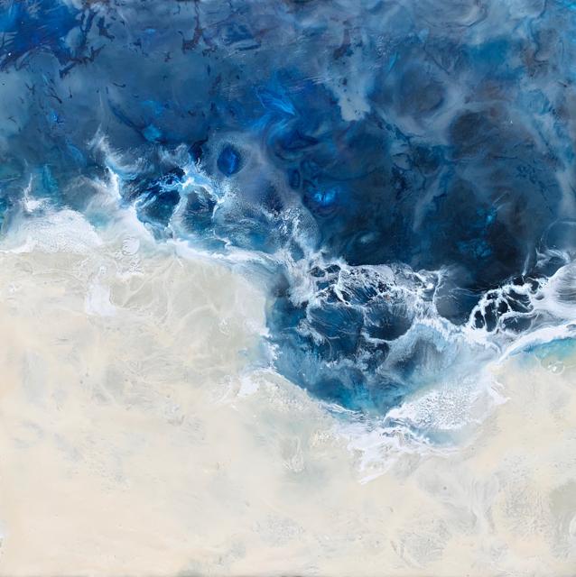 "Kathy Ostrander Roberts | Maine Waters 1 | Encaustic | 12"" X 12"" | Sold"