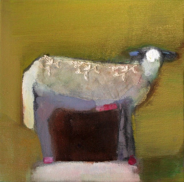 "Claire Bigbee | Olive | Oil and Lace | 8"" X 8"" 