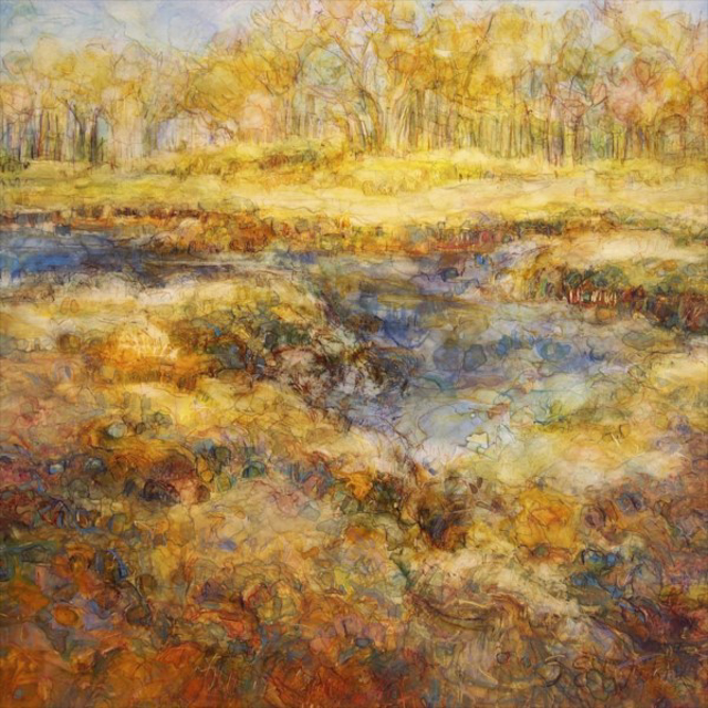 "Susan Wahlrab | Changing Tide | Varnished Watercolor on Archival Claybord | 16"" X 16"" 