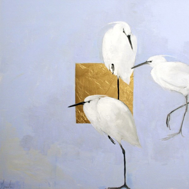 "Ellen Welch Granter | Egrets Humming | Oil and Gold Leaf on Canvas | 24"" X 24"" 