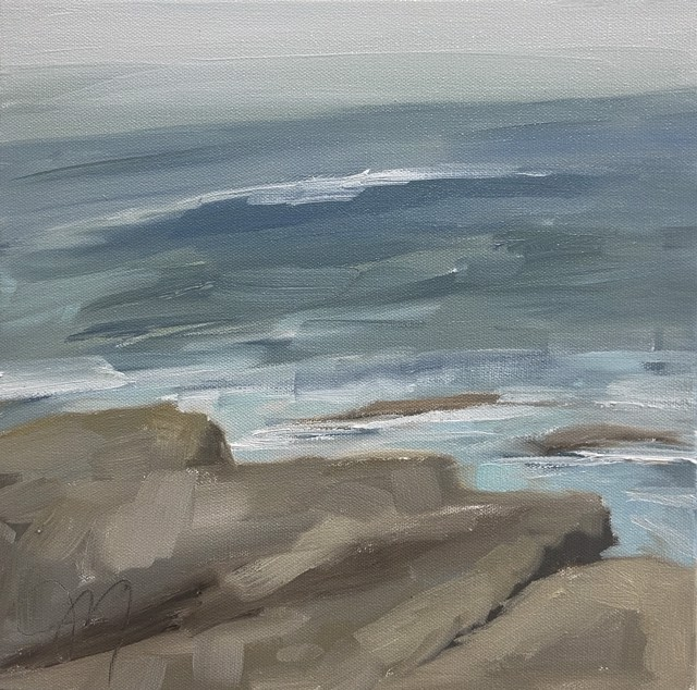"Jill Matthews | Glancing Down | Oil on Canvas | 12"" X 12"" 