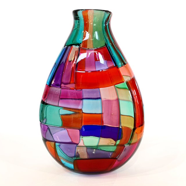 Crazy Quilt Vase, Transparent, Medium