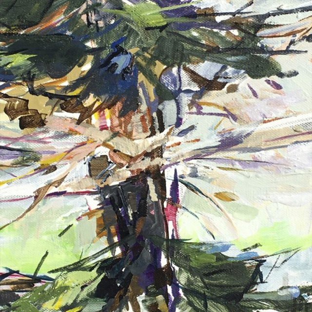 "Jeffrey T. Fitzgerald | Into Branches | Acrylic | 8"" X 8"" 