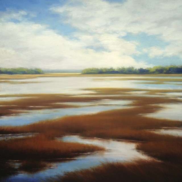 "Margaret Gerding | High Waters on the Marsh | Oil on Panel | 30"" X 30"" 
