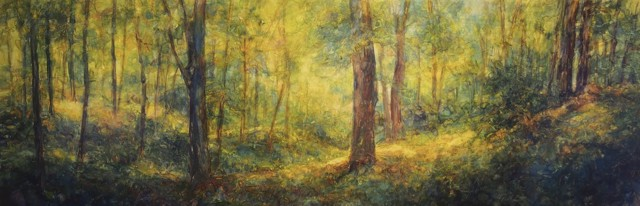 "Susan Wahlrab | Emerald | Varnished Watercolor on Archival Claybord | 12"" X 36"" 