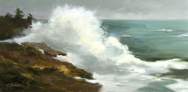 "Ed Hicks | The Breakers | Oil on Canvas | 20"" X 40"" 