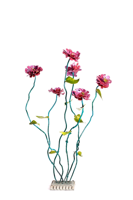 "Susan Bennett | Six Blooms | Steel with Metal Paint | 36"" X 20"" 