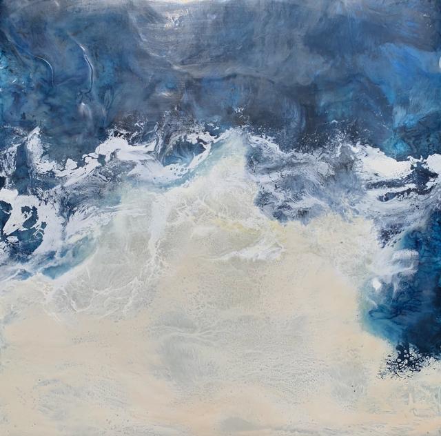 "Kathy Ostrander Roberts | Maine Waters 2 | Encaustic | 12"" X 12"" | Sold"