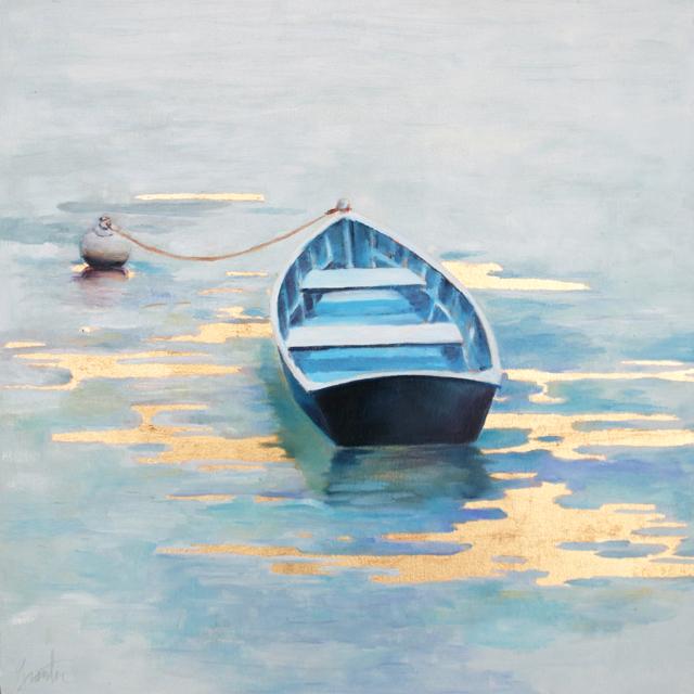 "Ellen Welch Granter | Flat Water | Oil on Panel | 19.75"" X 19.75"" | Sold"
