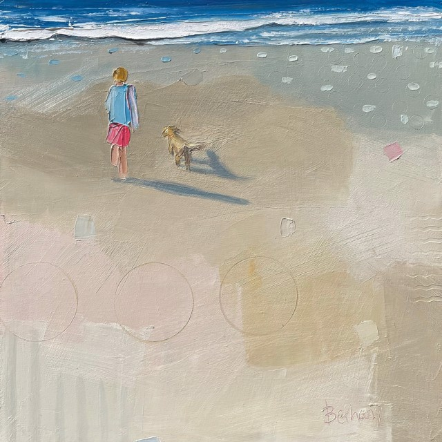 """Bethany Harper Williams   Boy and his Dog   Oil on Canvas   16"""" X 16""""   Sold"""