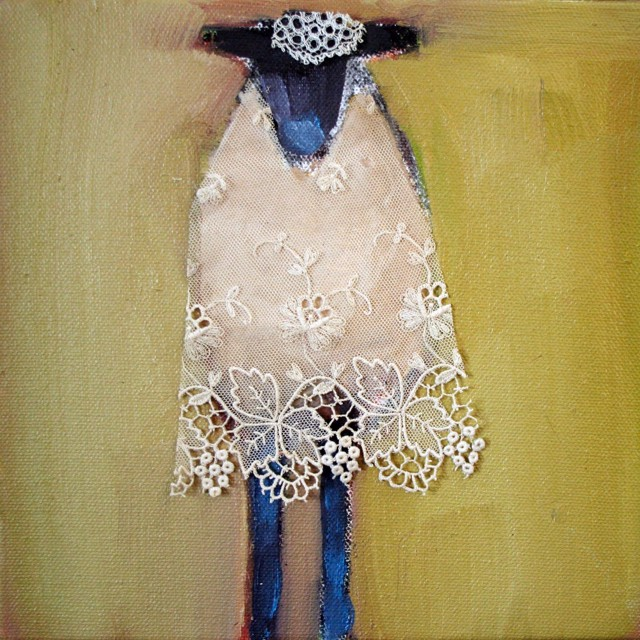 "Claire Bigbee | Wooly | Oil and Lace | 8"" X 8"" 