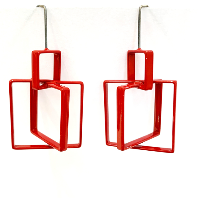 Large 3 Square Earring in Red