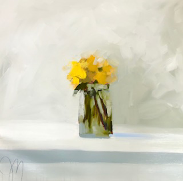 "Jill Matthews | Yellow Blooms | Oil on Canvas | 24"" X 24"" 