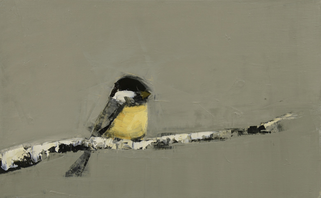 "Rebecca Kinkead | Black Capped Chickadee (Birch Branch) | Oil and Wax on Linen | 15"" X 24"" 