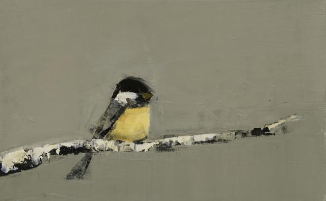 "Rebecca Kinkead | Black Capped Chickadee (Birch Branch) | Oil and Wax on Linen | 15"" X 24"" | Sold"