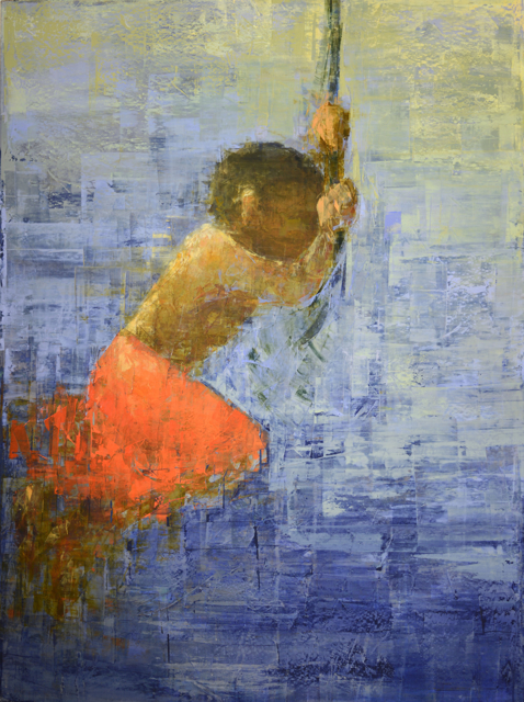 "Rebecca Kinkead | Rope Swing (Blue and Orange) | Oil and Wax on Linen | 54"" X 40"" 