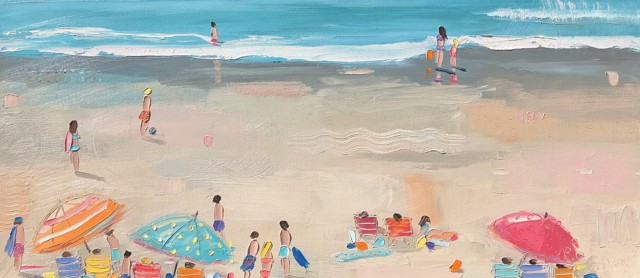 "Bethany Harper Williams | The Blue Soccer Ball | Oil on Canvas | 14"" X 32"" 