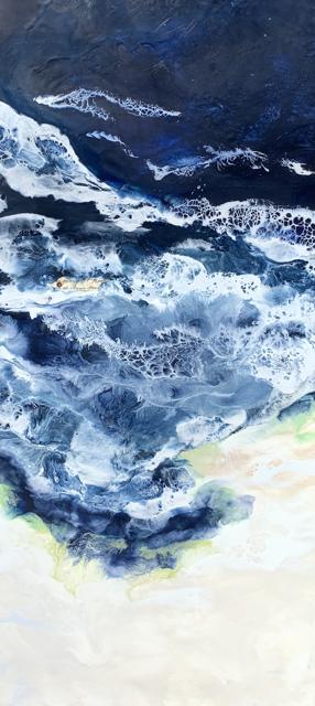 "Kathy Ostrander Roberts | Mariner's Voices | Encaustic on Birch Panel | 36"" X 18"" | $2,500.00"