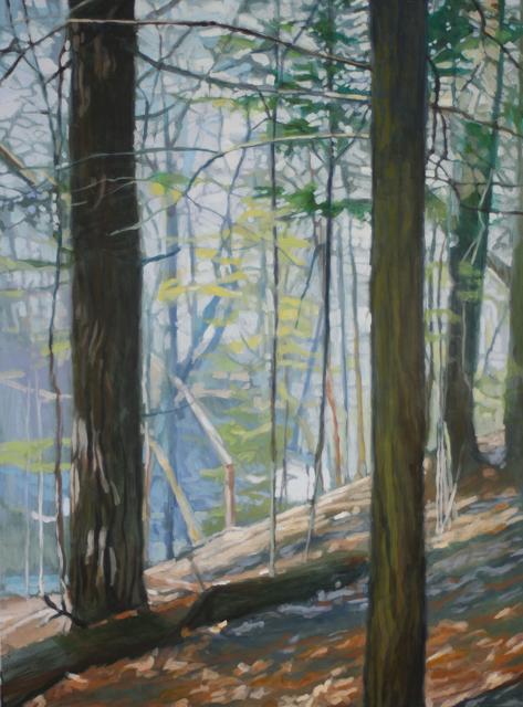 "Liz Hoag | Wooded Hillside | Acrylic | 48"" X 36"" | Sold"