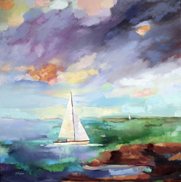 "Claire Bigbee | Gently Into the Breeze | Oil on Canvas | 48"" X 48"" 