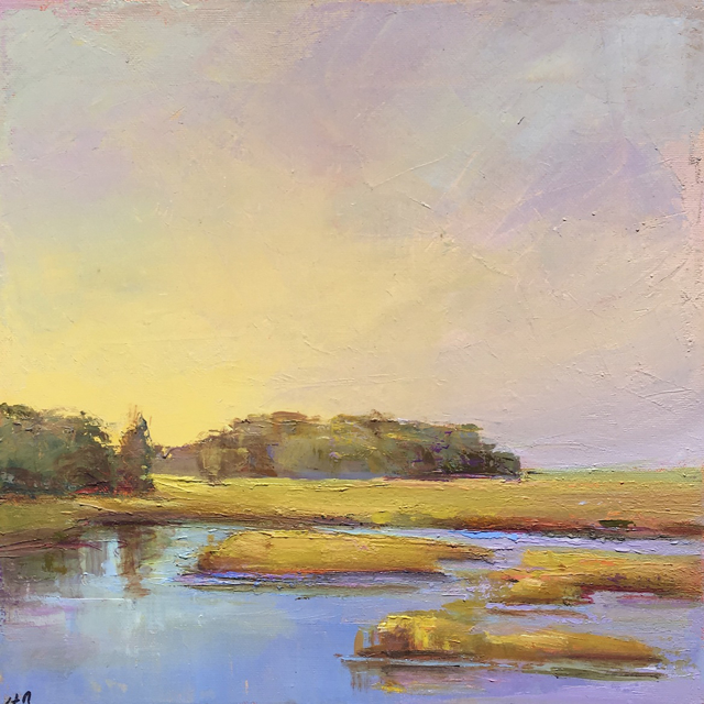 "Holly Ready | Summer Marsh in Yellow | Oil on Canvas | 12"" X 12"" 