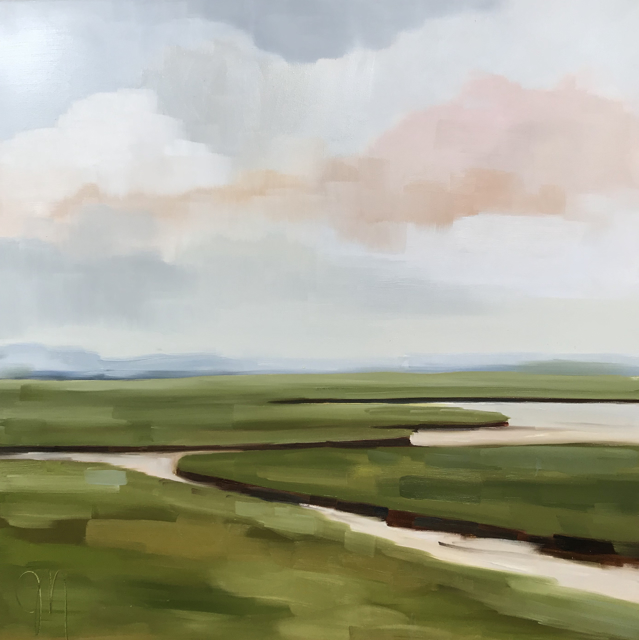 "Jill Matthews | Spring Marsh Evening | Oil on Canvas | 36"" X 36"" 
