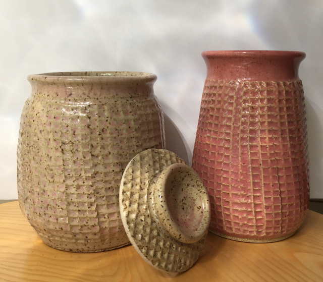 "Richard Winslow | The Pinkish Pair - Textured Vessels | Pottery | 7.5"" X 5.5"" 