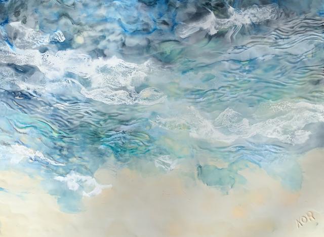"Kathy Ostrander Roberts | Drifting to Leeward | Encaustic on Birch Panel | 30"" X 40"" | Sold"