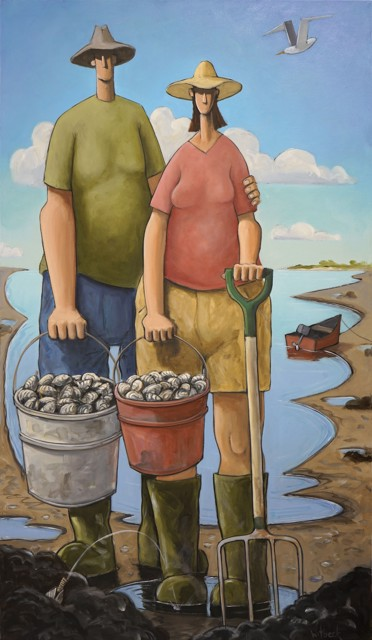 """David Witbeck   Clarence and Clara Clamming   Oil on Canvas   45"""" X 26""""   Sold"""