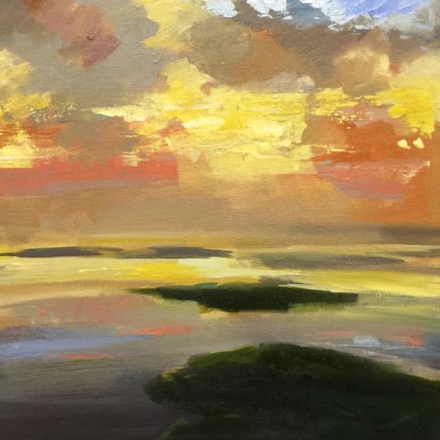 "Craig Mooney | Evening Sky | Oil | 18"" X 18"" | Sold"