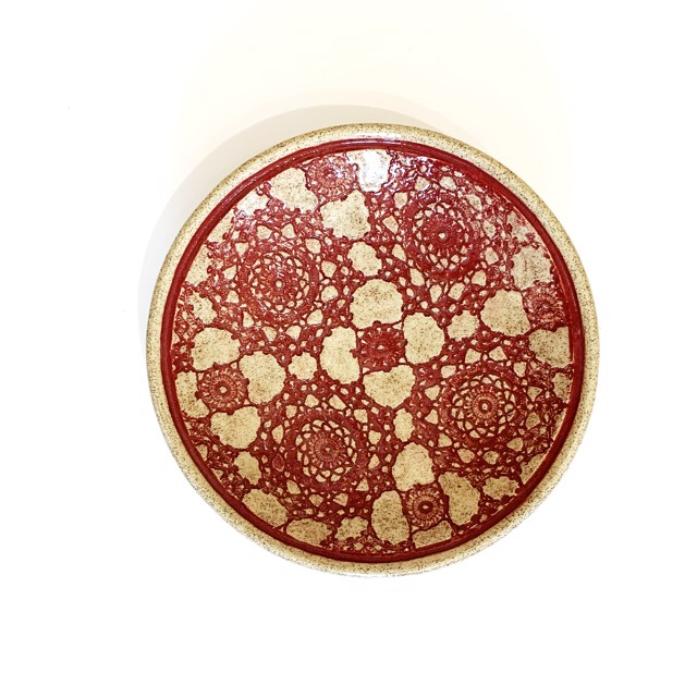 "Richard Winslow | Burgundy Textured Dish | Ceramic | 2.5"" X 10"" | Sold"