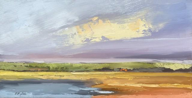"Claire Bigbee | Batson River Saltmarsh I | Oil on Canvas | 10"" X 20"" | Sold"