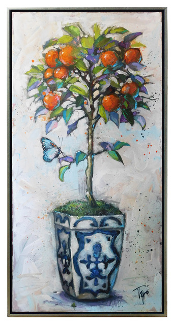 "Trip Park | English Topiary | Mixed Media on Canvas | 48"" X 24"" 
