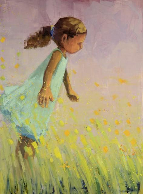 "Rebecca Kinkead | Stella in the Wind (Summer) | Oil and Wax on Linen | 54"" X 40"" | Sold"