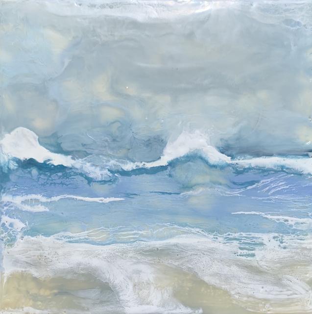 "Kathy Ostrander Roberts | Gooches Beach 2 | Encaustic | 12"" X 12"" | Sold"
