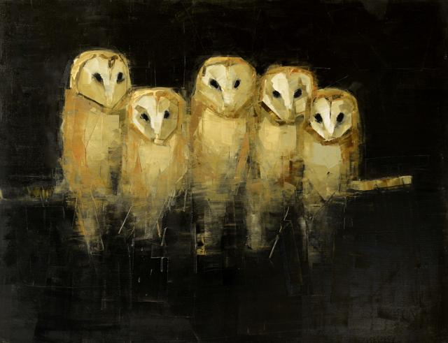 "Rebecca Kinkead | Roost | Oil and Wax on Linen | 42"" X 54"" | Sold"