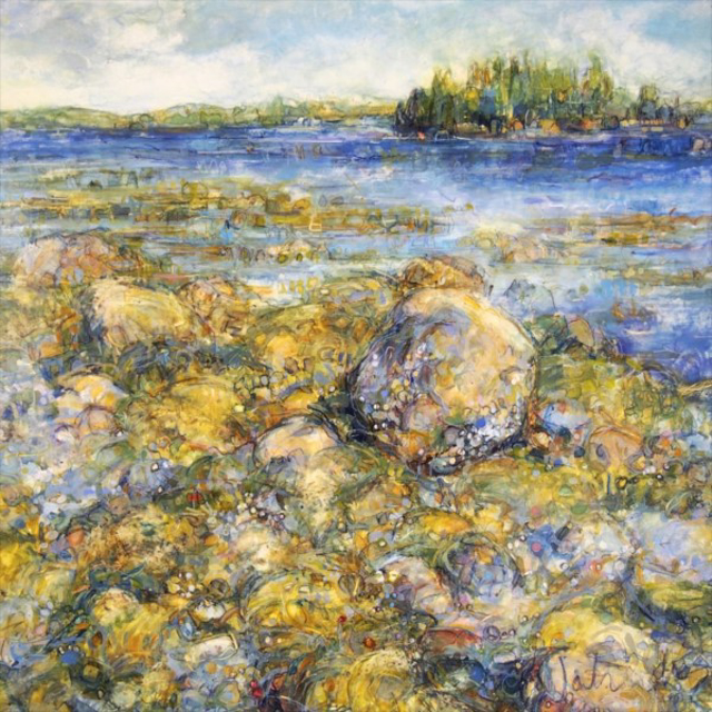 """Susan Wahlrab   Barnacle   Varnished Watercolor on Archival Claybord   12"""" X 12""""   $1,600.00"""