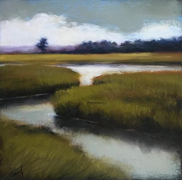 "Margaret Gerding | View of Parsons Road | Oil on Panel | 10"" X 10"" | Sold"