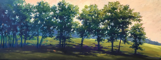"Margaret Gerding | Colors Through the Branches | Oil on Panel | 30"" X 78"" 