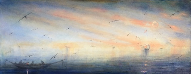"John LeCours | Twilight Reverie | Oil on Canvas | 16"" X 40"" 
