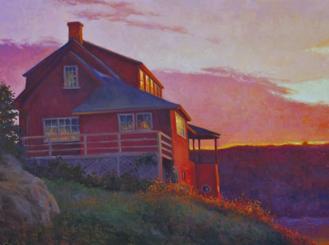 "Abbie Williams | Red House, Pink Cloud II | Oil on Linen | 30"" X 40"" 