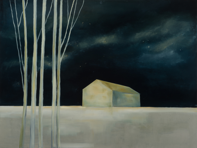 "Ingunn Milla Joergensen | Stargazing Barn | Oil on Canvas | 36"" X 48"" 