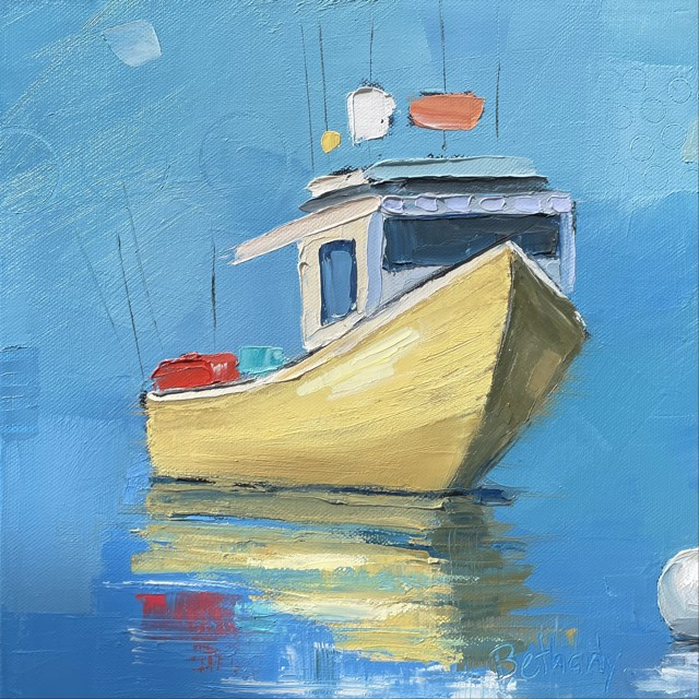 """Bethany Harper Williams   Yellow Lobster Boat   Oil on Canvas   12"""" X 12""""   Sold"""