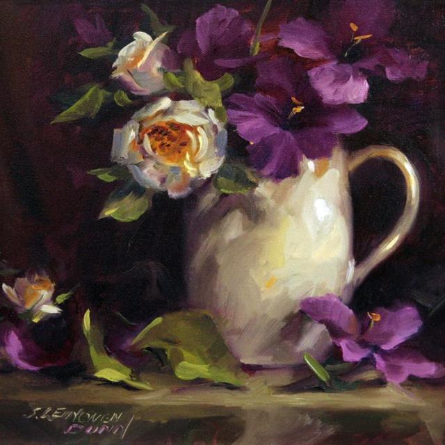 "Sandra L. Dunn | Magenta Glads and White Rose | Oil | 12"" X 12"" | Sold"