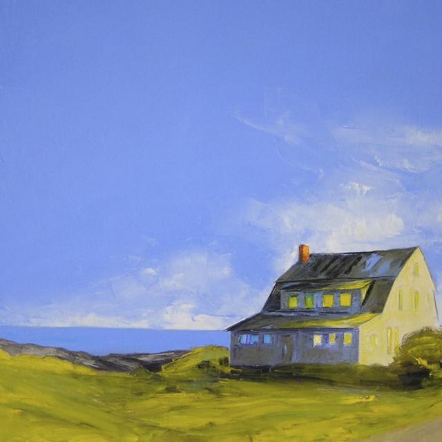 "Janis H. Sanders | Beach Walk | Oil on Canvas | 24"" X 24"" | Sold"
