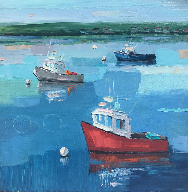 "Bethany Harper Williams | Three Boats at Rest | Oil on Canvas | 16"" X 16"" 