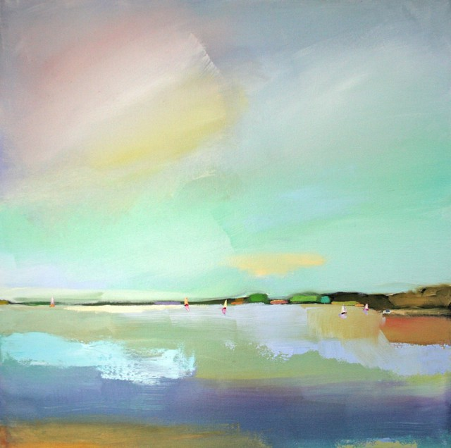 """Claire Bigbee   Serenity & Airy Skies at Casco Bay - Triptych      24"""" X 72""""   Sold"""