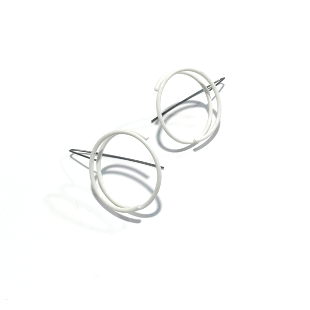 Powder Coated Earrings: Continuous Circle in White