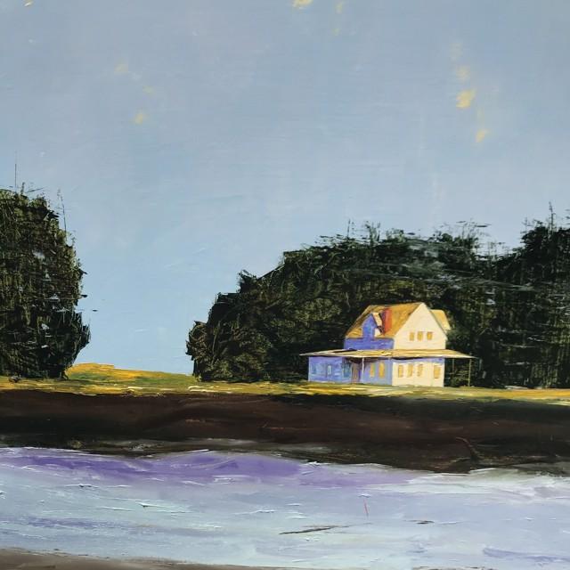 "Janis H. Sanders | Tide River House | Oil on Panel | 30"" X 30"" | $3,825.00"